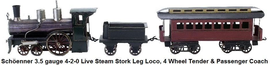 Schöenner 3.5 inch gauge 4-2-0 Live Steam Set-includes European profile stork leg engine with tender and passenger coach