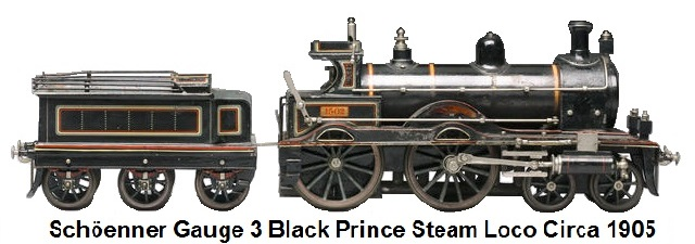 Schöenner gauge III Black Prince locomotive and tender circa 1905