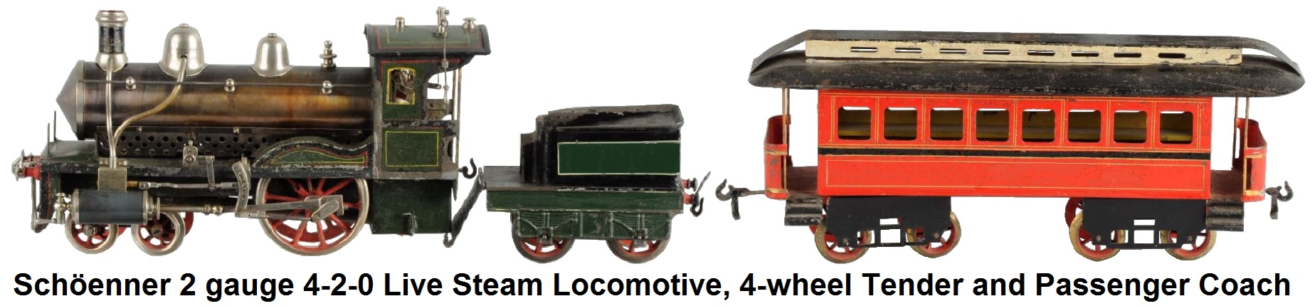 Schöenner #2 gauge 4-2-0 Live Steam Locomotive, 4-wheel Tender and Passenger coach