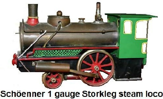 Schöenner Storkleg live steam locomotive in gauge 1