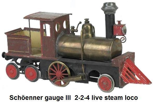 Sch�enner gauge III live steam Locomotive painted tin American steam outline 2-2-4