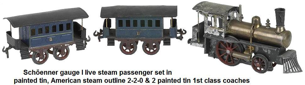 Schöenner Gauge I live steam passenger set painted tin, American steam outline 2-2-0 & 2 painted tin 1st class coaches