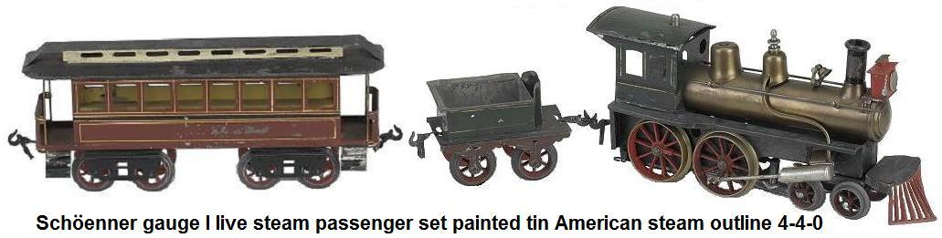 Schöenner gauge I live steam passenger set painted tin American steam outline 4-4-0