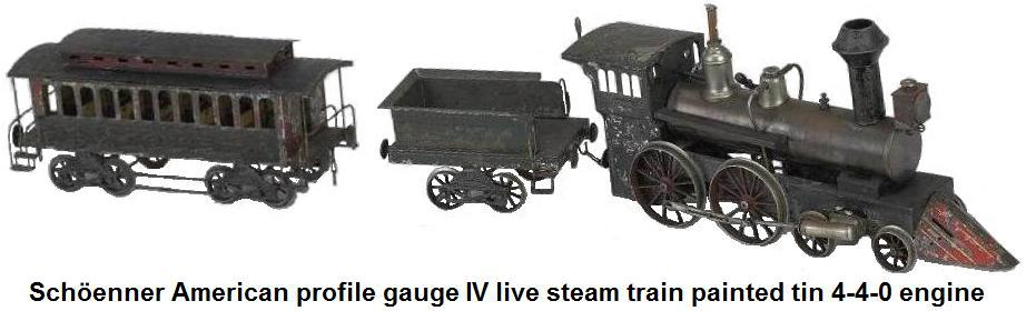 Schöenner American profile gauge IV live steam train painted tin 4-4-0 engine