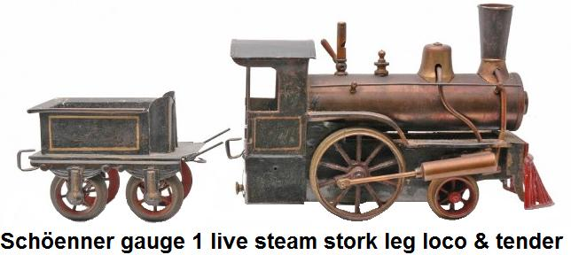Sch�enner gauge 1 live steam stork leg loco and tender, circa 1898-1900