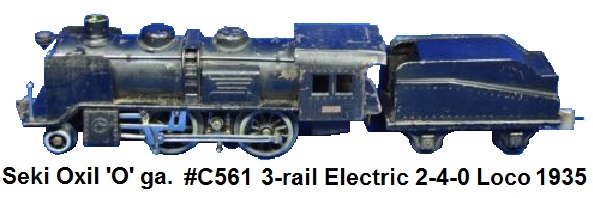 Seki Oxil 'O' gauge #C561 3-rail electric 2-4-0 Locomotive and tender circa 1935