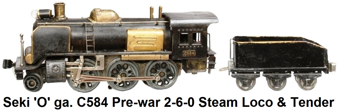 Seki 'O' gauge C584 Pre-war 2-6-0 Steam Locomotive and Tender