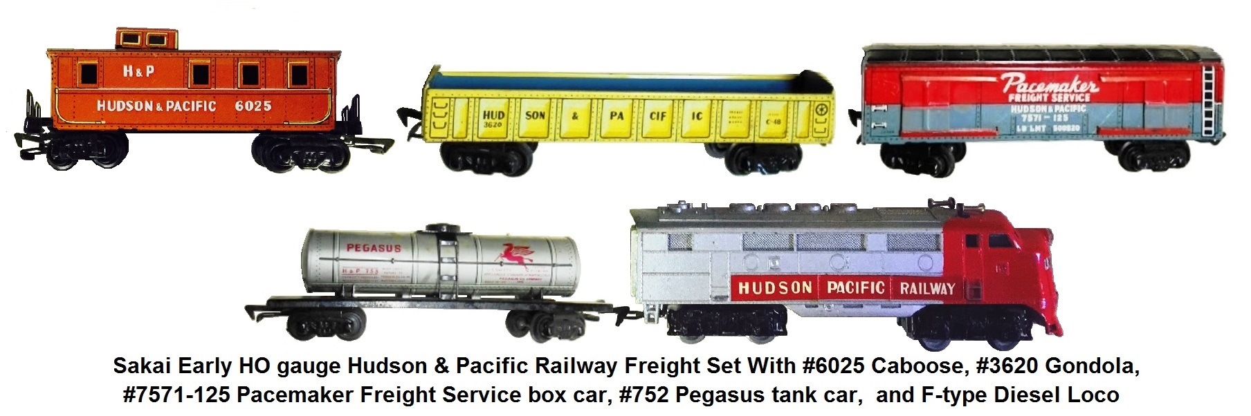 Sakai early HO gauge Hudson & Pacific Railway Freight set with diesel loco, #3620 gondola, #7571-125 Pacemaker Freight Service boxcar, #752 Pegasus tank car, and #6025 caboose