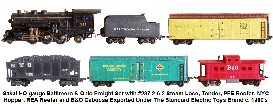 Sakai later HO gauge Baltimore & Ohio Freight set with #237 2-6-2 Steam Outline loco, tender, PFE Reefer, NYC Coal Hopper, REA Reefer and Red Caboose Exported Under the Standard Electric Toys Brand