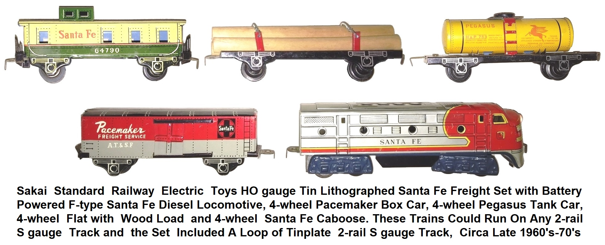 Sakai Standard Railway HO Santa Fe freight set with 4 wheel tinplate cars
