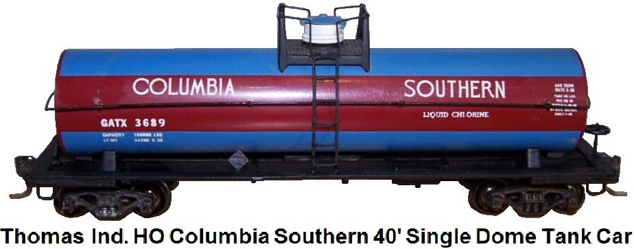 Thomas Industries HO gauge Columbia Southern 40' Single Dome LP Platform Tank Car #3689