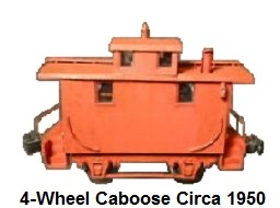 Thomas Industries 'O' gauge Reading RR 4-wheel Bobber Caboose Circa 1950