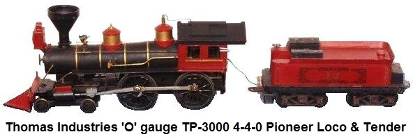 Thomas Industries 'O' gauge 4-4-0 Shawnee Express TP-3000 loco & tender from the Pioneer set