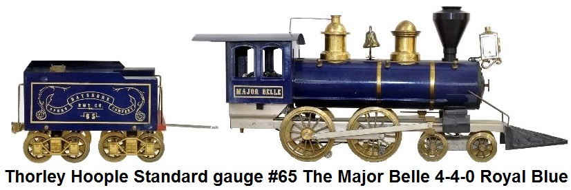 Thorley Hoople Toy Train Company Standard gauge #65 The Major Belle 4-4-0 in royal blue