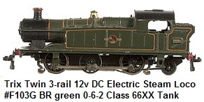 Trix Twin 3-rail 12v DC British Rail Steam Loco #F103G BR green 0-6-2 Class 66XX Tank