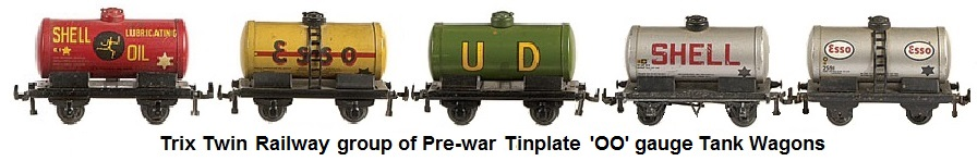 Trix Twin group of Pre-war 'OO' gauge Tinplate Tank wagons
