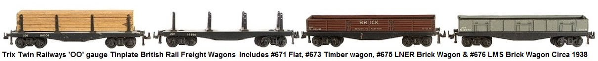 Trix Twin Railways group of 'OO' gauge Tinplate British Rail Freight Wagons