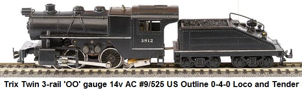 Trix Twin Railways 'OO' gauge 3-rail 14v AC #9/525 US Outline 0-4-0 Loco and Tender numbered 3812