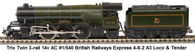 Trix Twin Railways 'OO' gauge 3-rail 14v AC #1/540 British Railways Express green 4-6-2 A3 Loco and Tender