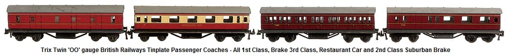 Trix Twin Railways 'OO' gauge BR tinplate Short Bogie BR crimson cream 5 x Brake 3rd, 3 x all 1st and 3 x 1st Class Restaurant Car, BR maroon 3 x Brake 2nd, 2 x all 1st, 7 x 1st 2nd Suburban
