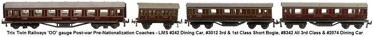 Trix Twin Railways 'OO' gauge Post-war Pre-Nationalisation Coaches. 8 x LNER teak Short Bogie 2 x all 1st, 2 x Restaurant Car 4 x Brake 3rd, 4 x LMS maroon Short Bogie 2 x Dining Car, all 1st and Brake 3rd,