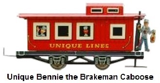 Unique Lines Bennie the Brakeman tinplate lithographed 'O' gauge caboose - novelty item with animated brakeman