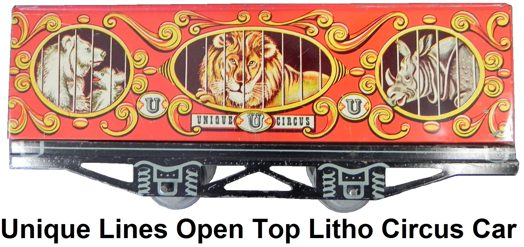 Unique Lines tinplate lithographed 'O' gauge circus car - Unique Lion version without roof