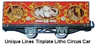 Unique Lines tinplate lithographed 'O' gauge circus car - Unique Elephant version without roof