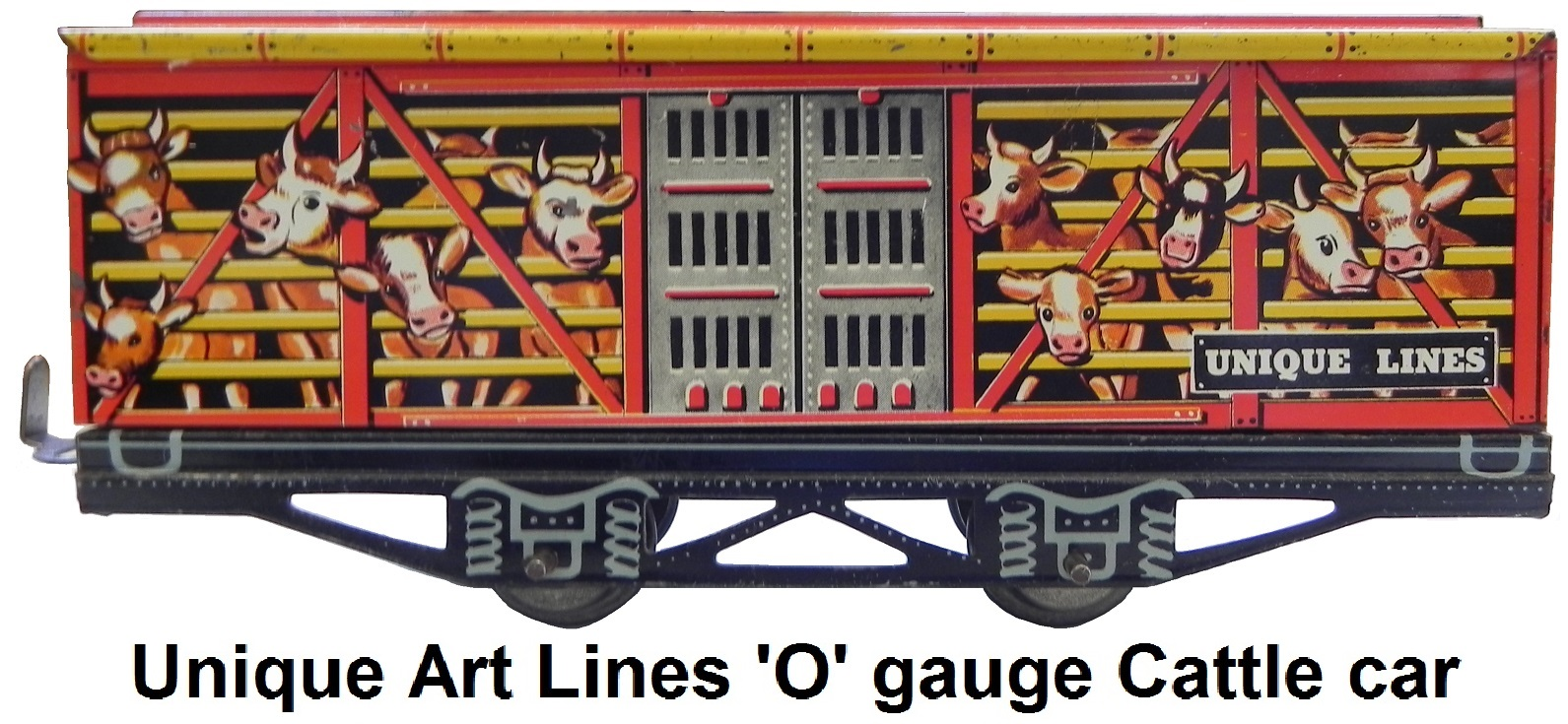 Unique Art tinplate 'O' gauge cattle car with comical lithography, catalogued in only one set 1949-51