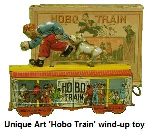 Unique Art Mfg. wind up animated 'Hobo Train'
