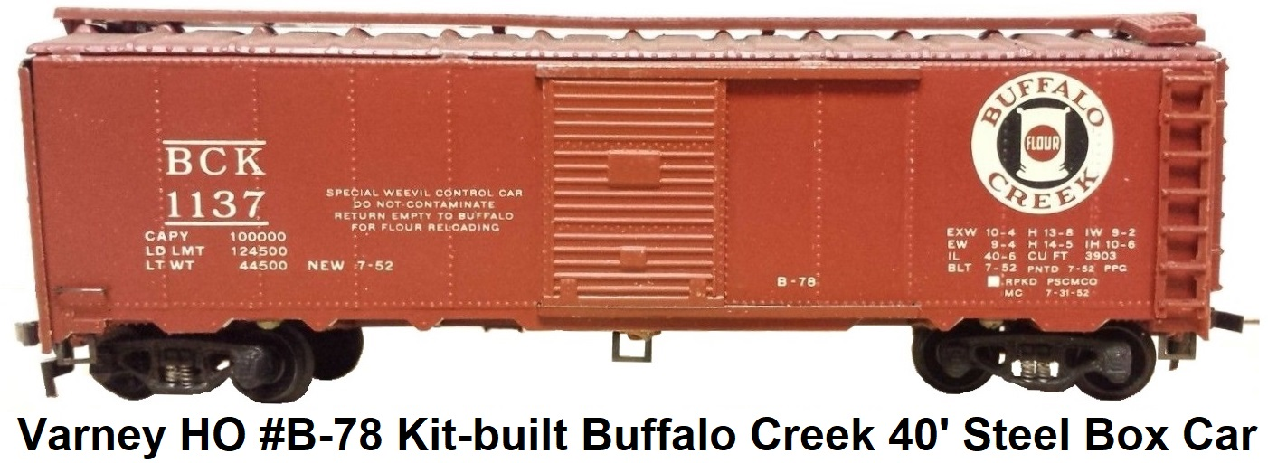 Varney HO #B-78 Buffalo Creek 40' Steel Box Car