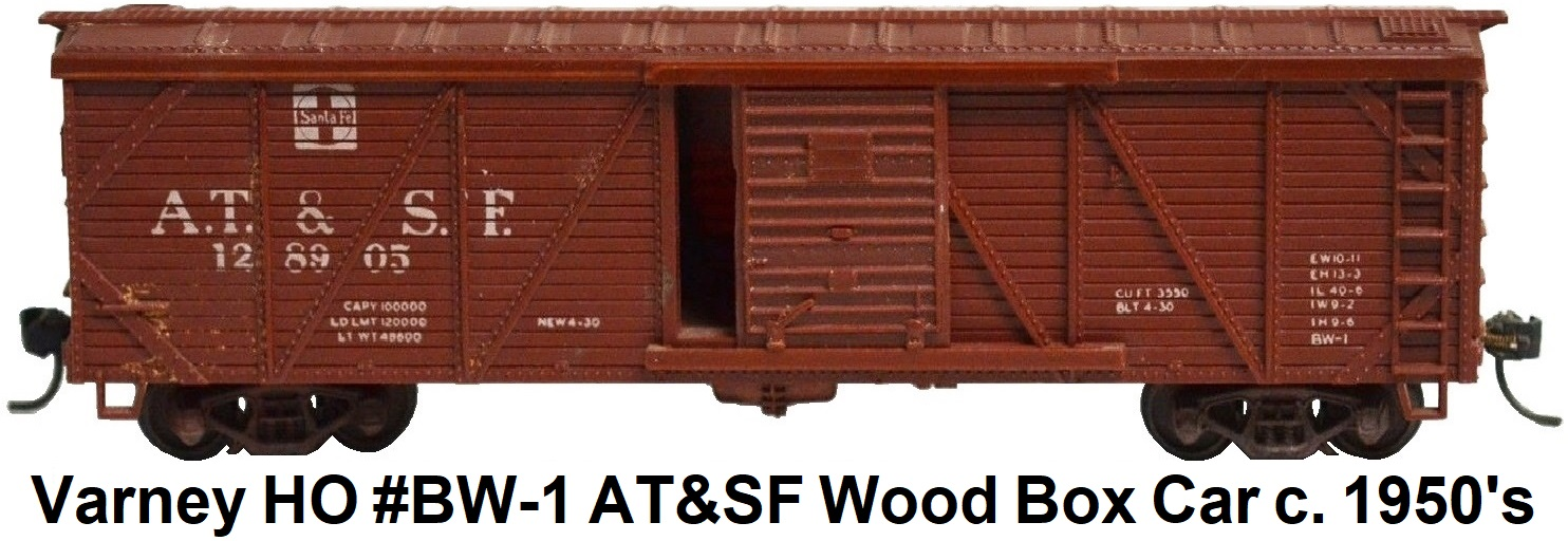 Varney HO #BW-1 AT&SF 40' AAR Outside Braced Wood Box Car with Kadee couplers circa 1950's