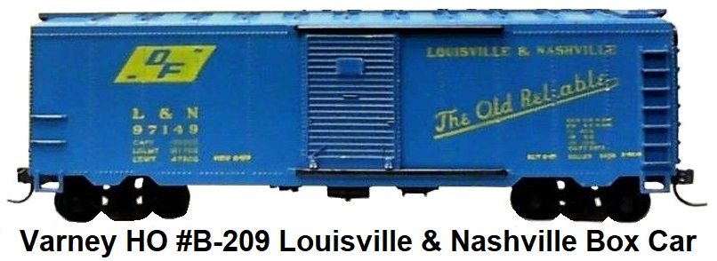 Varney HO #B-209 Louisville & Nashville 40' Steel Box Car