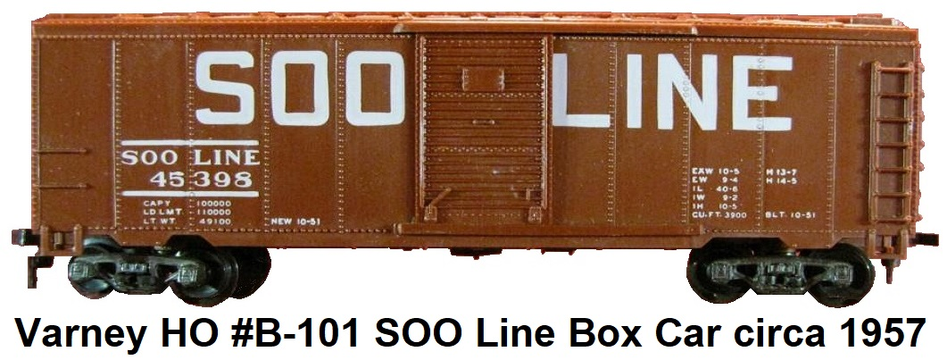 Varney HO #B-101 SOO Line #45398 40' single door Box Car circa 1957