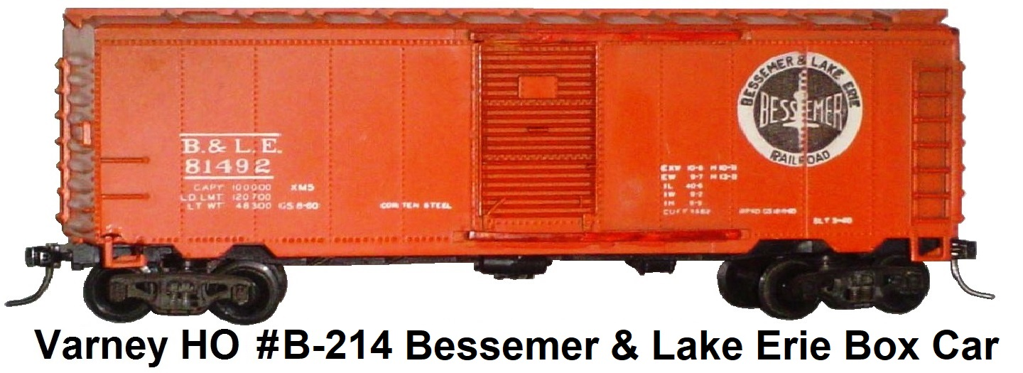 Varney HO #B-214 Bessemer & Lake Erie 40' Steel Box Car