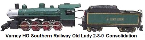 Varney HO scale Old-Lady 2-8-0 Consolidation Steam Locomotive & Tender in Southern Railway Livery