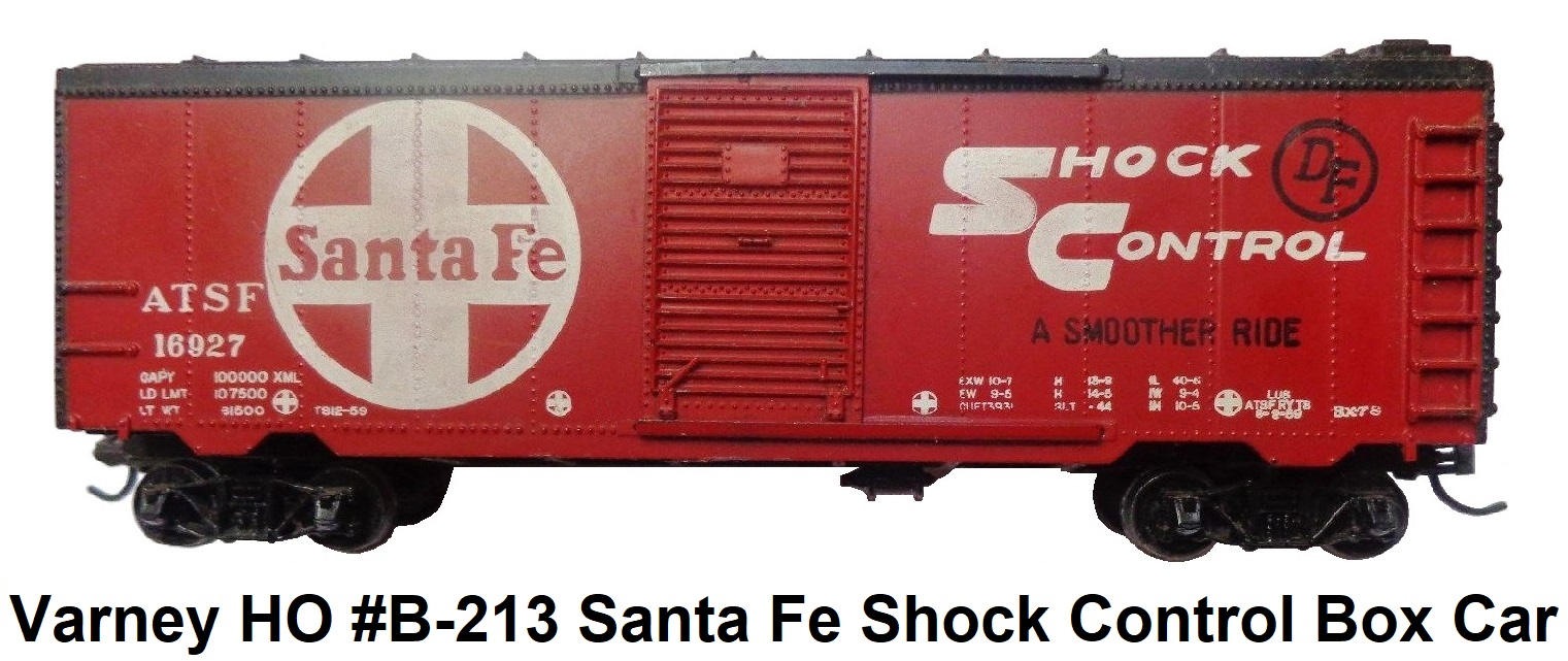 Varney HO #B-213 Santa Fe Shock Control 40' Steel Box Car