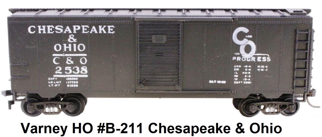 Varney HO #B-211 Chesapeake & Ohio 40' Steel Box Car Built Kit