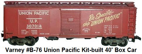 Varney HO #B-76 Union Pacific Metal body 40' Box Car