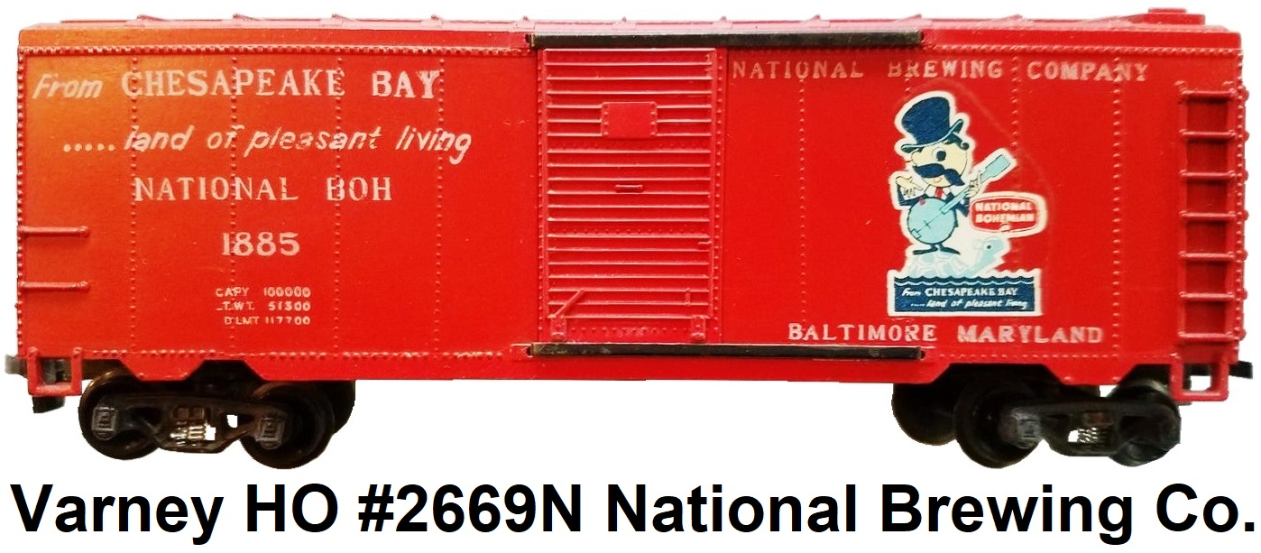 Varney HO #2669N National Brewing Co. BOH Natty Boh Beer Plastic Box car made 1962-64
