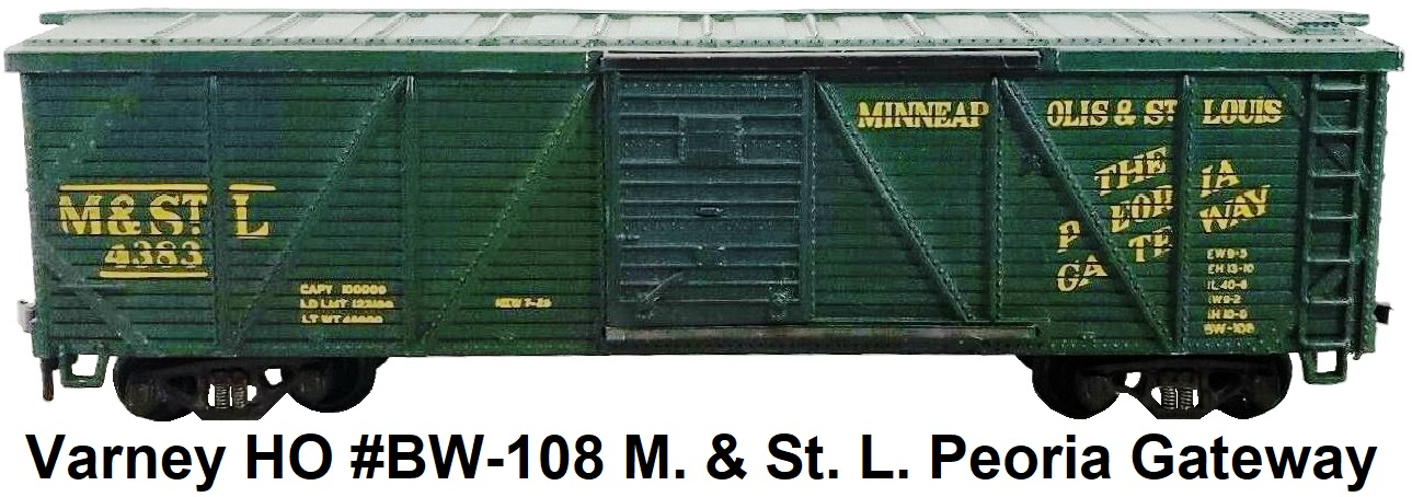 Varney HO #BW-108 M. & St. L. Peoria Gateway Outside Braced Wood box car