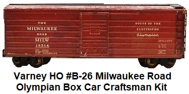 Varney HO #B-26 Milwaukee Olympian box car craftsman kit circa 1940's