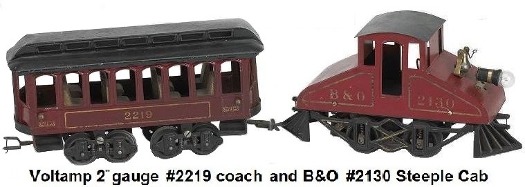 Voltamp 2 inch gauge B & O Steeple Cab and coach #2130 painted tin electric engine with wood floor and finely detailed cast iron frame with a #2219 painted tin passenger car with wood seats