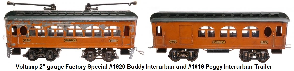 Voltamp 2 inch gauge Factory Special #1920 Buddy Interurban and #1919 Peggy Interurban trailer