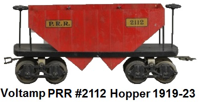 Voltamp 2 inch gauge #2112 PRR coal hopper car 1919-23