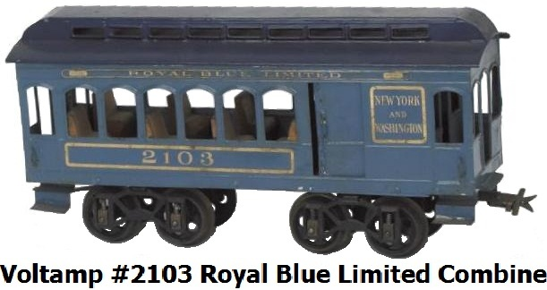 Voltamp #2103 2 inch gauge Royal Blue Limited Combine Car