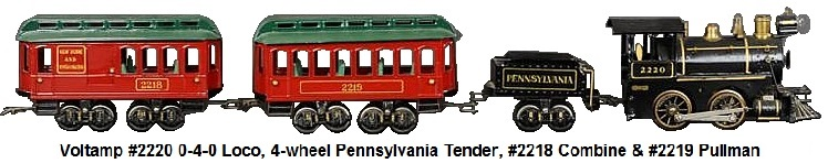 Voltamp #2220 0-4-0 Locomotive, 4-wheel Pennsylvania Tender, #2218 Combine and #2219 Pullman