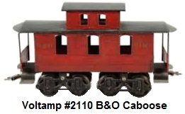 Voltamp 2 inch gauge #2110 B&O Red Caboose with black roof
