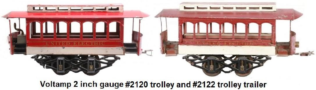 A Voltamp #2120 Trolley and #2122 Trolley trailer in 2 inch gauge