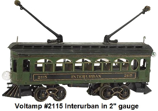 A Voltamp #2115 Interurban Trolley in 2 inch gauge